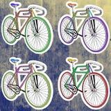 Wystrzał sztuki majchery ustawiający Ręka rysuje retro bicykl Zdjęcia Royalty Free