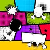 Wystrzał sztuki paska teksta mowy bąbla komiczna bomba ilustracja wektor