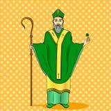 Wystrzał sztuki patron Irlandia Święty Patrick trzyma koniczyny i pastorału personelu z powitanie faborkiem ilustracja wektor