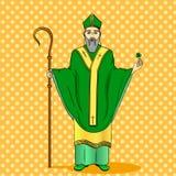 Wystrzał sztuki patron Irlandia Święty Patrick trzyma koniczyny i pastorału personelu z powitanie faborkiem ilustracji