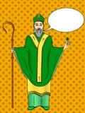 Wystrzał sztuki patron Irlandia Święty Patrick trzyma koniczyny i pastorału personelu z powitanie faborkiem Teksta bąbel ilustracja wektor