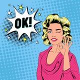 Wystrzał sztuki Piękna kobieta Mruga Szyldowego OK i Pokazuje Radosny dziewczyna rocznika plakat z Komicznym mowa bąblem - pin, ilustracja wektor