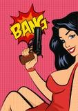Wystrzał sztuki stylu wektoru ilustracja Kobieta z pistoletem ilustracji