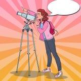 Wystrzał sztuki Szczęśliwa kobieta Patrzeje Przez teleskopu na niebie Astronomiczny wyposażenie ilustracja wektor