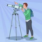 Wystrzał sztuki Szczęśliwy mężczyzna Patrzeje Przez teleskopu Astronomiczny wyposażenie ilustracja wektor