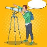 Wystrzał sztuki Szczęśliwy mężczyzna Patrzeje Przez teleskopu na niebie Astronomiczny wyposażenie royalty ilustracja