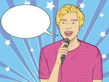 Wystrzał sztuki tło Imitacja komiczka styl Facet śpiewa w mikrofon w karaoke, showman, piosenkarz wektor royalty ilustracja