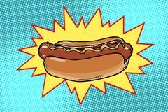 Wystrzał sztuki hot dog fast food royalty ilustracja