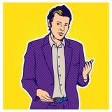 Wystrzał sztuki komiczki stylu ilustracja biznesmen Zdjęcie Stock