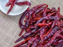 Wysuszeni chillies umieszczają na stole Gotujący z korzennym smakiem Fotografia Stock
