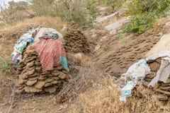 Wysuszeni krowa paszteciki dla ogrzewać na drodze Nahargarh fort zdjęcia royalty free