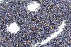 Wysuszeni kwiaty lawenda Kwiatostany lawenda rozpraszają na powierzchni w postaci emoticon Na białym backgrou Obraz Stock