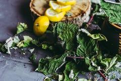 Wysuszeni liście porzeczkowy kłamstwo na szarym tle, sezon zimna, zimno, cytryna segmenty, herbata, herbata dla zimna, ziołowa he Zdjęcie Royalty Free