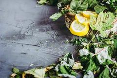 Wysuszeni liście porzeczkowy kłamstwo na szarym tle, sezon zimna, zimno, cytryna segmenty, herbata, herbata dla zimna, ziołowa he Obrazy Stock