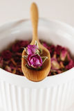 Wysuszeni różani płatki: dla herbaty, alternatywna medycyna, garnek Zdjęcia Royalty Free
