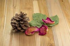Wysuszeni różani płatki na drewnie z szyszkową sosną Obrazy Royalty Free