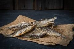 Wysuszeni rybi kłamstwa na zmroku kamienia powierzchni Fotografia Royalty Free