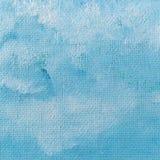 Wysuszona błękitna i biała farba na kanwie Fotografia Royalty Free