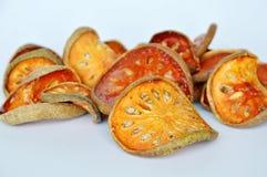 Wysuszona bael owoc na białym tle Fotografia Stock