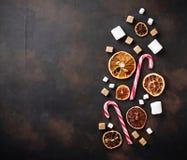 Wysuszona cytrusa, marshmallow i cukierku trzcina, Zdjęcie Stock