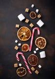 Wysuszona cytrusa, marshmallow i cukierku trzcina, Fotografia Stock