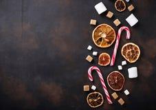Wysuszona cytrusa, marshmallow i cukierku trzcina, Zdjęcie Royalty Free