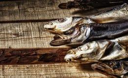Wysuszona ryba kłama na deskach obrazy stock