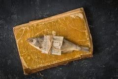 Wysuszona ryba na ciemnym betonowym tle Obraz Royalty Free