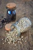 Wysuszone białego i czarnego pieprzu kukurudze Fotografia Stock