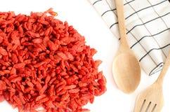 Wysuszone goji jagody, gouqi, goji, jagoda, Lycium barbarum, organicznie Obrazy Royalty Free