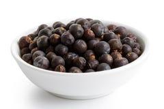 Wysuszone jałowcowe jagody w białym ceramicznym pucharze zdjęcie stock