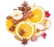 Wysuszone pomarańczowe i inne owoc na białym tle Zdjęcia Stock