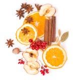 Wysuszone pomarańczowe i inne owoc na białym tle Obraz Royalty Free