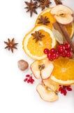 Wysuszone pomarańczowe i inne owoc na białym tle Zdjęcia Royalty Free