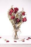 Wysuszone róże w szklanej wazie obraz royalty free