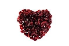 Wysuszony Cranberries serce kształtujący Obraz Stock