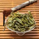 Wysuszony herbacianych liści zbliżenie jako tło Zdjęcia Royalty Free