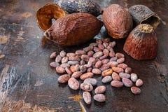 Wysuszony kakao i kakao ziarna na drewnianym tle zdjęcia royalty free