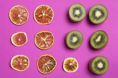 Wysuszony pomarańcze i cytryny plasterek na Burgundy tle jako sztuki praca która może używać dla dekoraci Zdjęcia Royalty Free