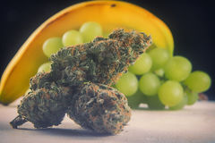 Wysuszonych marihuana pączków małpy Gronowy napięcie z świeżą owoc - medica Zdjęcia Royalty Free