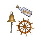 Wysyła dzwon, kierownicę i wiadomość w butelce, royalty ilustracja