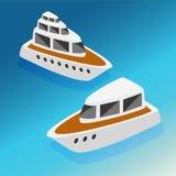 Wysyła jacht łodzi isometric ikony ustawiającą wektorową ilustrację Zdjęcia Royalty Free