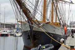 Wysyła Kaskelot w doku przy Plymouth schronieniem, barbakan, Plymouth, Devon, Zjednoczone Królestwo, 20th 2018 Sierpień fotografia royalty free