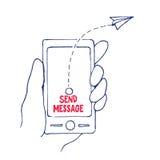 Wysyła wiadomość od telefonu komórkowego w ręce, Wektorowa ilustracja ilustracja wektor