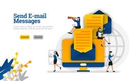 Wysyłający e-mailowy wiadomości i artykuły od początku do końca koperty i komputery używają dla, lądujący wektorowy ilustracyjny  ilustracja wektor