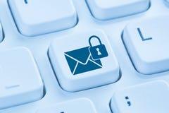 Wysyłający utajnioną e-mailową ochronę zabezpiecza poczta internet błękitny co Obraz Royalty Free