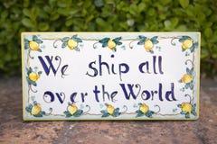 Wysyłamy Po całym Światowy znak dla handlu międzynarodowego, Capri, Włochy, Europa Zdjęcie Royalty Free