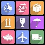 Wysyłki i dostawy mieszkania ikony Zdjęcie Royalty Free