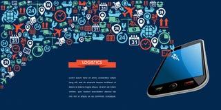 Wysyłek logistyk app teksta ikony tasiemkowy mobilny spl Fotografia Stock