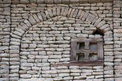 Wyszczególnia ścianę stary dom w Srinagar, India Zdjęcia Royalty Free